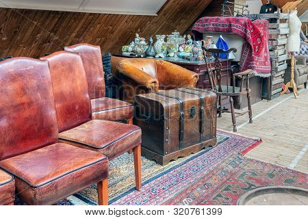 Weerselo, The Netherlands - August 16, 2019: Exposition Of Vintage Furniture At Dutch Flea Market
