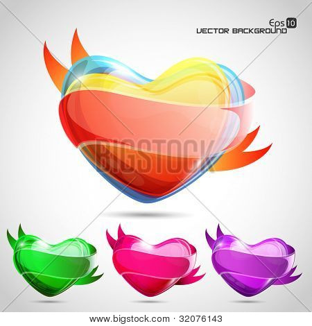 Vector set of glossy colorful  heart shapes in green, pink and purple colors. EPS 10, can be use as tag, icon, button or stickers.