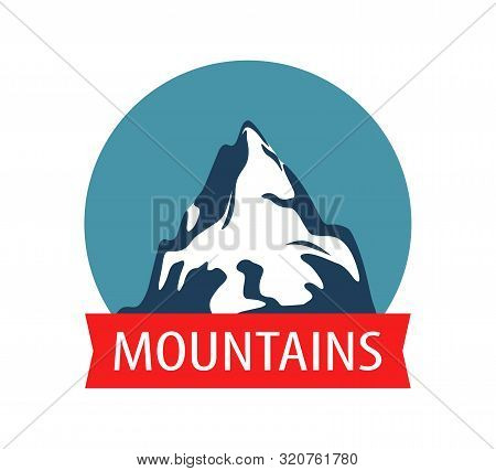 Landscape With Mountain, Rock - Vector Blazon Illustration, Badge For Tours Of Travel Company