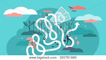 Life Journey Vector Illustration. Flat Tiny Symbolic Person Destiny Concept. Abstract Lifetime Choic