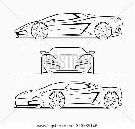 Sports Car Silhouettes, Outlines, Contours. Front, Side, Perspective View Of Supercar. Can Be Used A