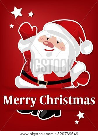 Vector Illustration Of Paper Art Carving Of Santa Claus Under Merry Christmas Text In White On Red B