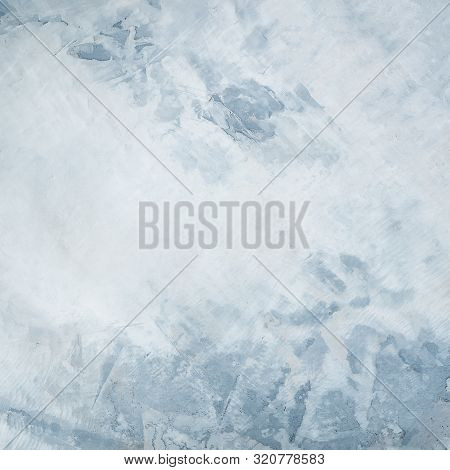 Abstract Cool Gray And Blue Concrete Background Texture, A Minimalist Design Template With Copyspace