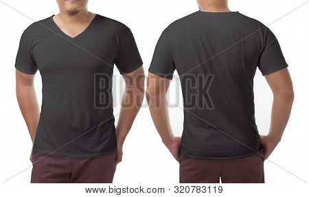 Black V-neck T-shirt Mock Up, Front And Back View, Isolated. Male Model Wear Plain Black Shirt Mocku