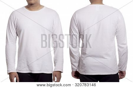 White Long Sleeved T-shirt Mock Up, Front And Back View, Isolated. Male Model Wear Plain White Shirt