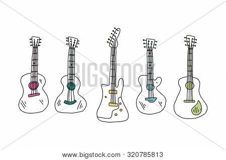 Informative Flyer Set Hand Drawn Guitar Acoustic. Sketch Different Types Acoustic Guitars. Stringed