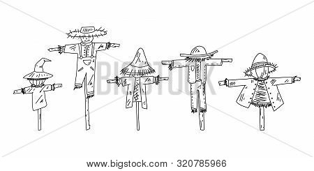 Advertising Flyer Set Scarecrow Sketch Hand Drawn. Serves To Scare Away Birds Pecking Crops In Garde