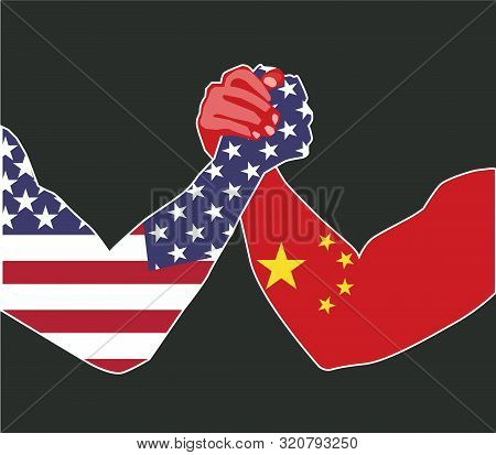 Sept, 2019 - China And Usa Economic Trade War Concept. China Dispute With The United States About Th