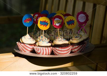 Party Cupcakes, Sweet Desserts With Sugar Topping And Cartoon Voice Signs.