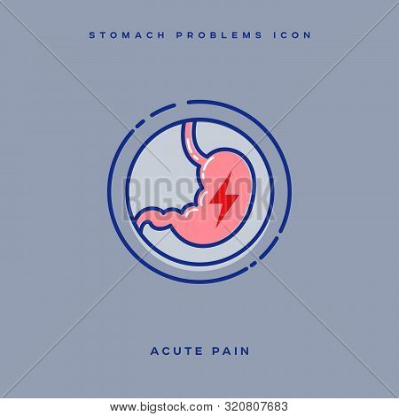 Stomach Problem Icon. Stomach Acute Pain. Linear Icons In A Circle. Medicine Pictures.