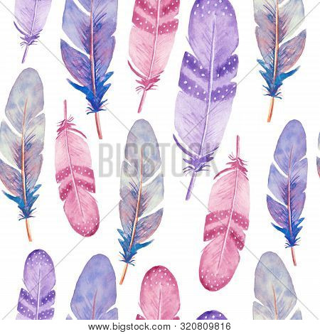Seamless Pattern With Isolated Watercolor Feathers. Hand Painted Colorful Feathers. Tribal Boho Azte