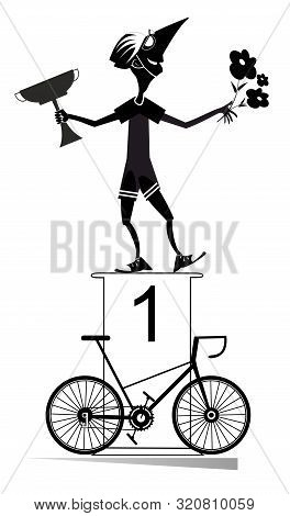 Cyclist, Podium Of The Winner And Bike Illustration. Cheerful Cyclist Stands On The Podium And Holds