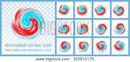 Red And Blue Vortex Animated Symbol. Hurricane, Tornado, Typhoon, Swirl Clouds, Twister On Light Tra