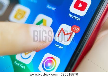 Bishkek, Kyrgyzstan - July 6 2019: Google Gmail Application Icon On Apple Iphone X Smartphone Screen