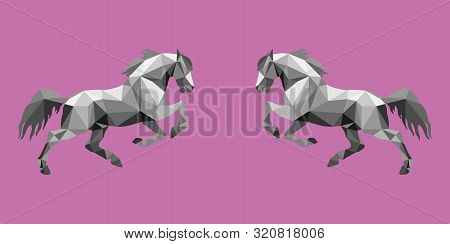 Two Galloping Horses, Vector-isolated  Image On White Background In Low Poly Style