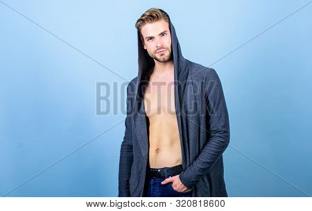 Masculinity And Confidence. Man Well Groomed Handsome Hooded Clothes. Unconventional But Masculine L
