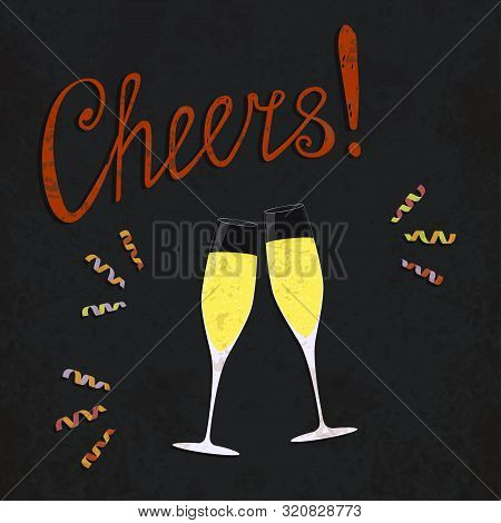 Vector Toasting Champagne Glasses With Colored Curl Ribbons. Retro Style Poster. Vintage Illustratio