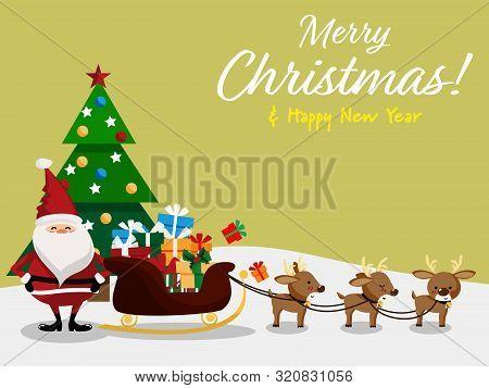 Christmas Cartoon Of Santa Claus, Reindeer, Gift Box, Christmas Tree And Merry Christmas & Happy New
