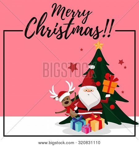 Christmas Cartoon Of Santa Claus, Reindeer, Gift Box, Christmas Tree And Merry Christmas Text. Desig
