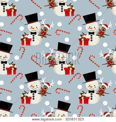 Cute Reindeer And Snowman In Winter Custom, Gift Box, Snowflakes And Candy Canes Seamless Pattern. C