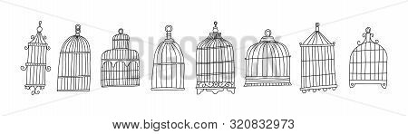 Bright Poster Set Cage Bird Sketch Hand Drawn. Metal Cages For Birds Of Different Sizes. Simple Cons
