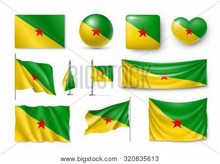 Various Flags Of French Guiana Country Set. Realistic Waving National Flag On Pole, Table Flag And D