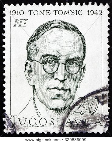 Yugoslavia - Circa 1968: A Stamp Printed In Yugoslavia Shows Tone Tomsic (1910-1942), Was A Slovenia