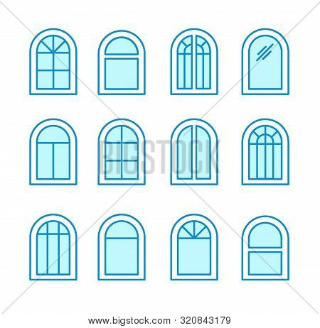 Arch & Arched Window. Casement & Awning Window Frames. Flat Line Icon Set. Vector Illustration. Isol