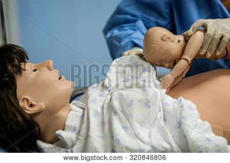 Details With Plastic Dummies Representing A Woman And Her Newly Born Baby Used By Medics And Midwive