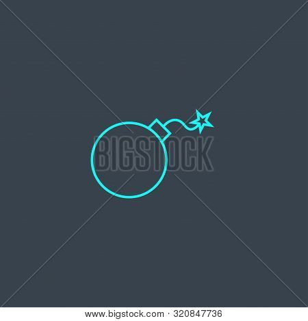 Threat Concept Blue Line Icon. Simple Thin Element On Dark Background. Threat Concept Outline Symbol