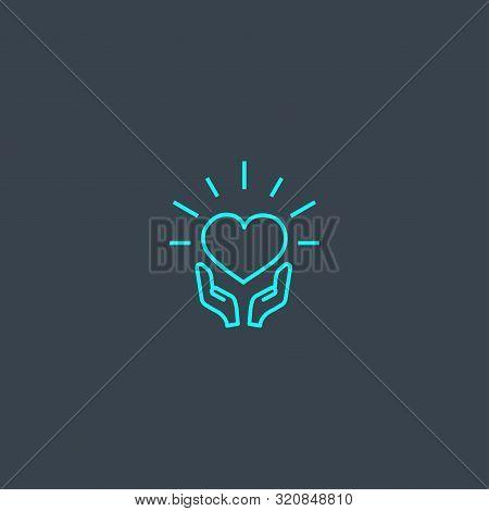 Csr Concept Blue Line Icon. Simple Thin Element On Dark Background. Csr Concept Outline Symbol Desig