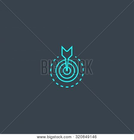 Objective Concept Blue Line Icon. Simple Thin Element On Dark Background. Objective Concept Outline