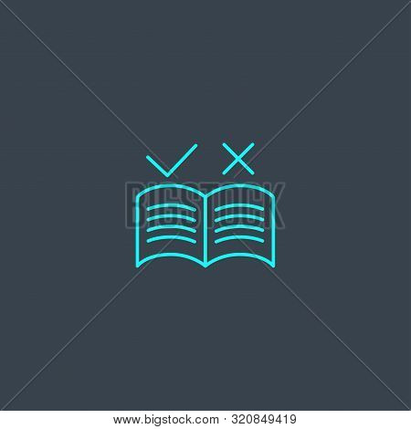 Guideline Concept Blue Line Icon. Simple Thin Element On Dark Background. Guideline Concept Outline