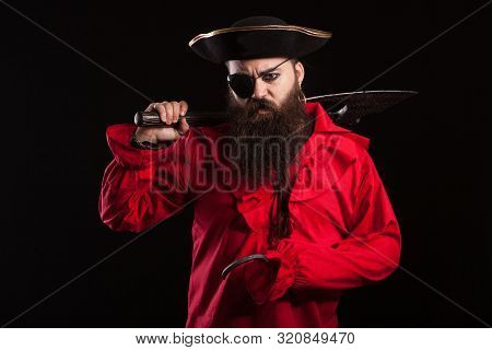 Barbarian Man Dressed Up Like A Pirate For Halloween