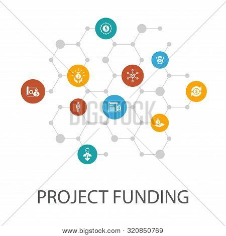 Project Funding Presentation Template, Cover Layout And Infographics. Crowdfunding, Grant, Fundraisi