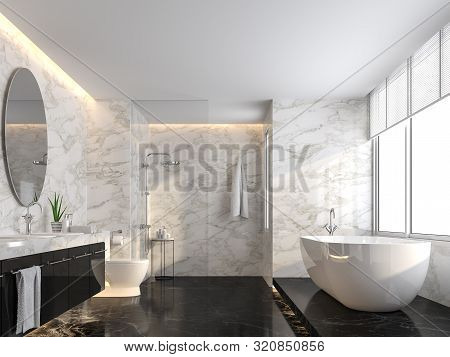 Luxury Bathroom With Black Marble Floor And White Marble Wall 3d Render,the Room Has A Clear Glass S