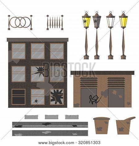 Ruined Street. Set Of Vector Illustration. House, Garage, Lights, Fences, Ballot Boxes, Asphalt, Bor