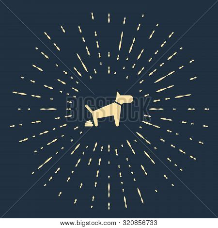 Beige Dog Pooping Icon Isolated On Dark Blue Background. Dog Goes To The Toilet. Dog Defecates. The