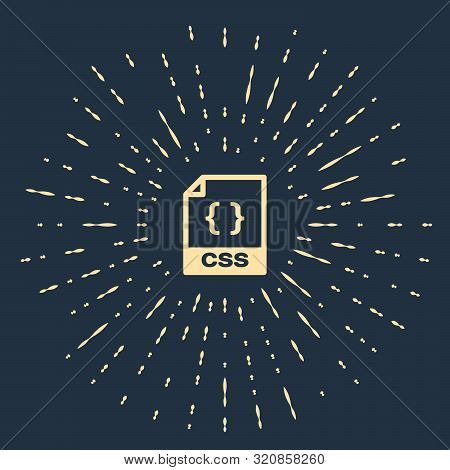 Beige Css File Document. Download Css Button Icon Isolated On Dark Blue Background. Css File Symbol.