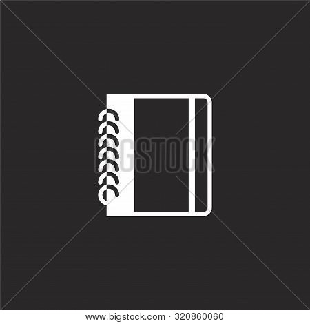 Notebook Icon. Notebook Icon Vector Flat Illustration For Graphic And Web Design Isolated On Black B