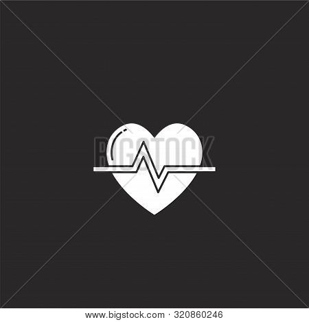Heart Rate Icon. Heart Rate Icon Vector Flat Illustration For Graphic And Web Design Isolated On Bla