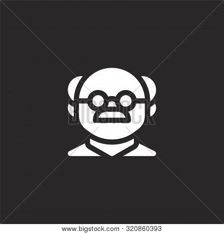 Professor Icon. Professor Icon Vector Flat Illustration For Graphic And Web Design Isolated On Black