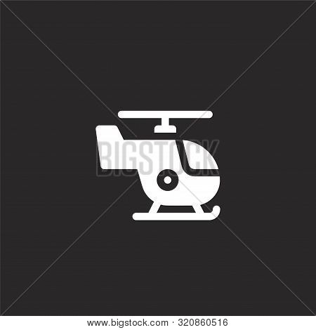 Helicopter Icon. Helicopter Icon Vector Flat Illustration For Graphic And Web Design Isolated On Bla
