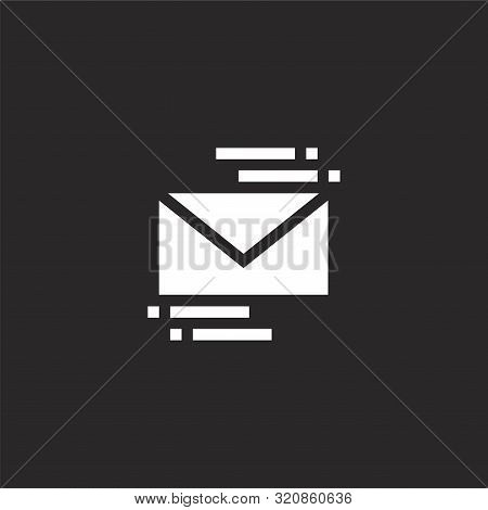 Email Icon. Email Icon Vector Flat Illustration For Graphic And Web Design Isolated On Black Backgro