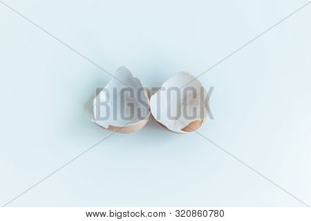 Brown Chicken Eggshell Presented On A white Background With Copy Space And Natural Day Light. Flat Lay poster