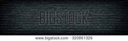 Widescreen Black Brick Wall Texture. Aged Rough Masonry Background. Dark Brickwork Wide Back Wallpap
