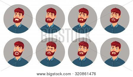 Male Character Facial Emotions. Happy Smiling Man Face, Angry Expression And Different Emotion Faces