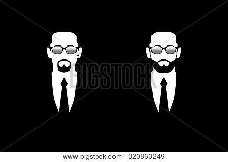 Men In Black Suits And Dark Glasses. Symbol Safety. Bodyguards, Security, Face Control. Isolated Ima