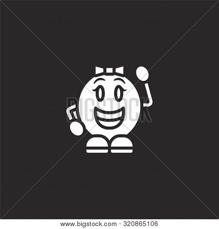 Grinning Icon. Grinning Icon Vector Flat Illustration For Graphic And Web Design Isolated On Black B