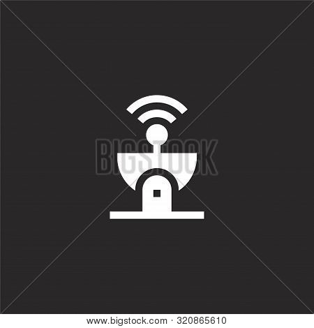 Satellite Dish Icon. Satellite Dish Icon Vector Flat Illustration For Graphic And Web Design Isolate